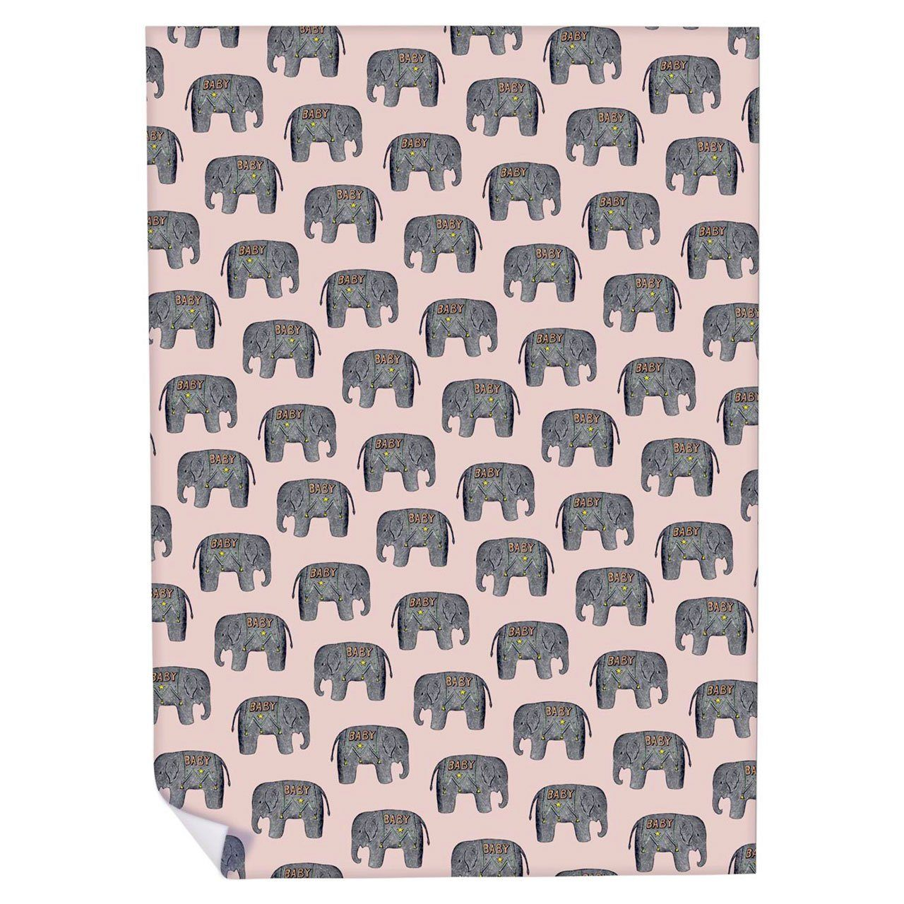 Baby Elephant (Pink) Wrapping Paper - Chase and Wonder - Proudly Made in Britain