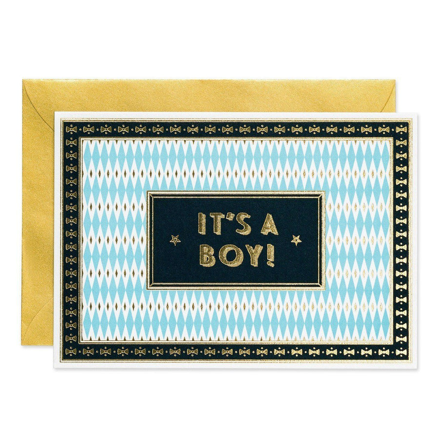 It's a Boy- Art Deco greeting card - Chase and Wonder - Proudly Made in Britain