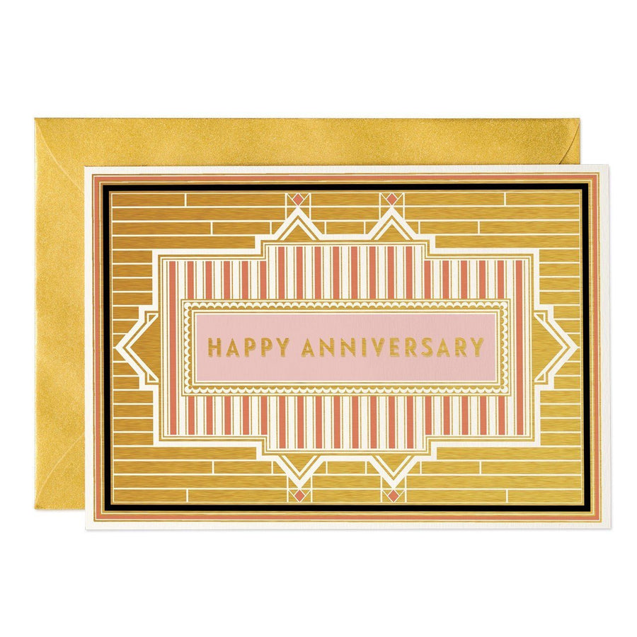 Happy Anniversary - Art Deco greeting card - Chase and Wonder - Proudly Made in Britain