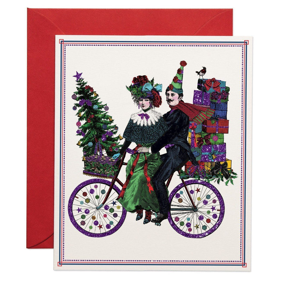 Christmas Cyclists greeting card - Chase and Wonder - Proudly Made in Britain