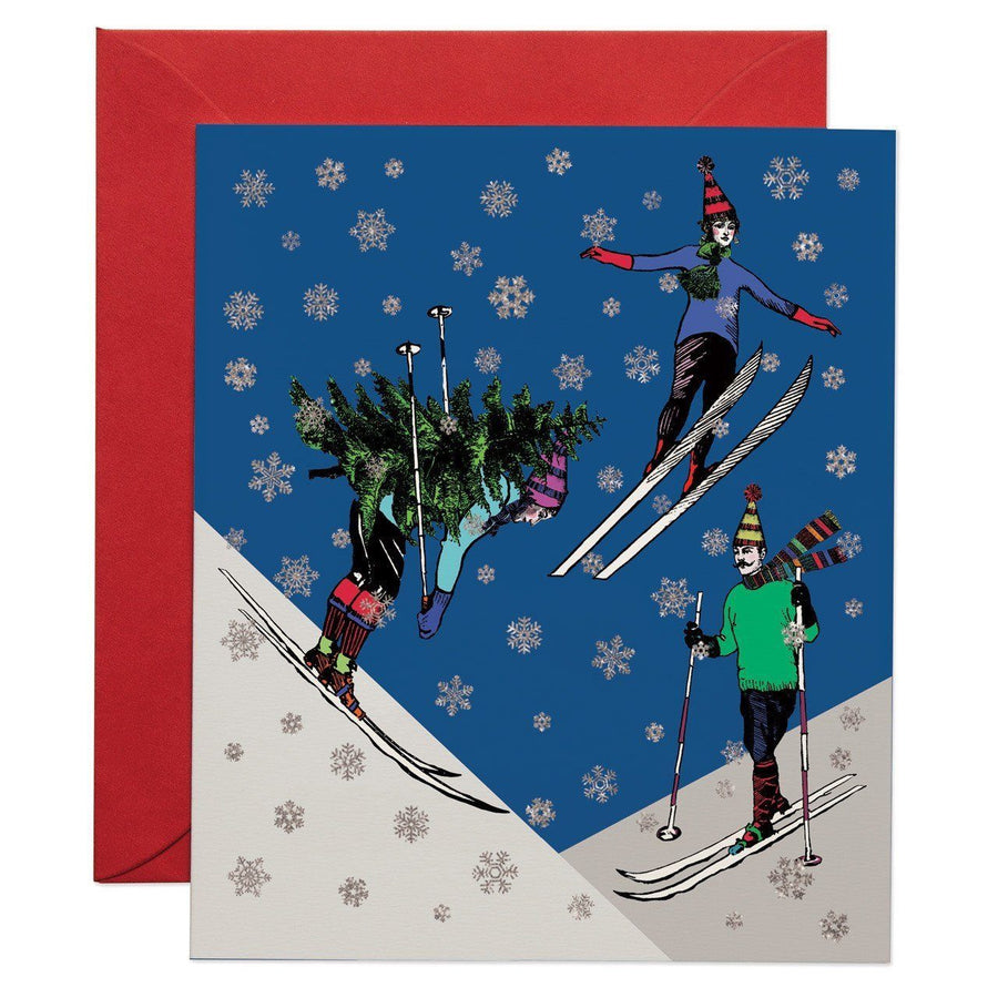 Christmas Skiers greeting card - Chase and Wonder - Proudly Made in Britain