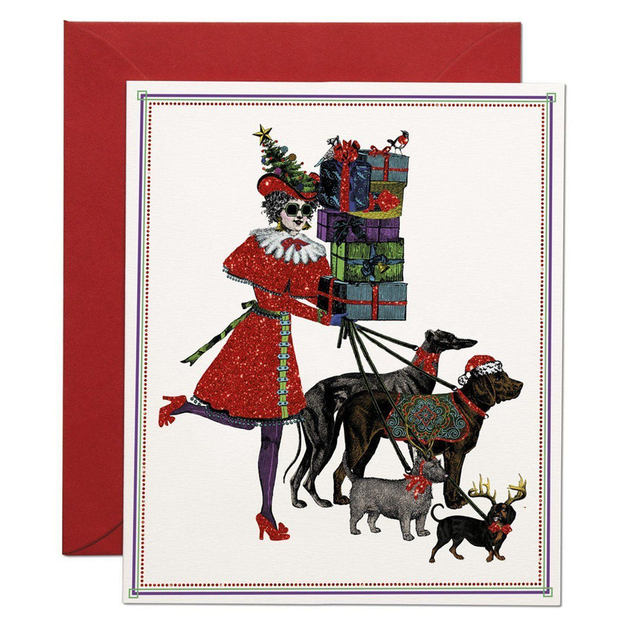 Christmas Shopping greeting card - Chase and Wonder - Proudly Made in Britain