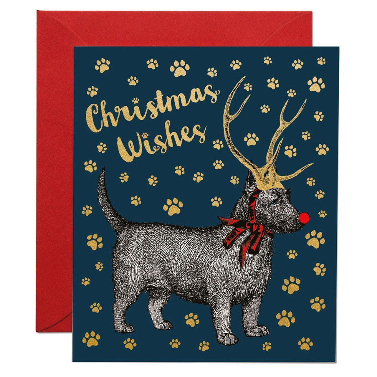 Christmas Dog with Antlers greeting card - Chase and Wonder - Proudly Made in Britain