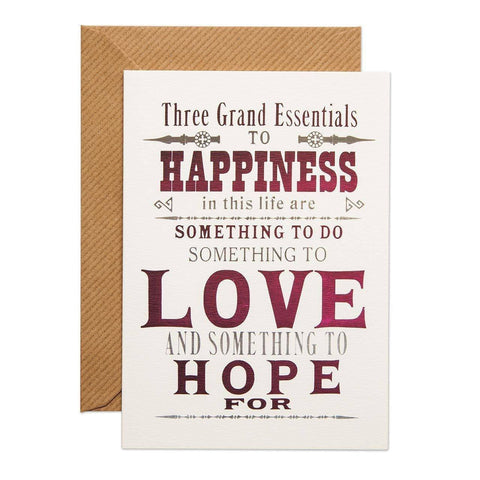 Essentials to Happiness Greeting Card