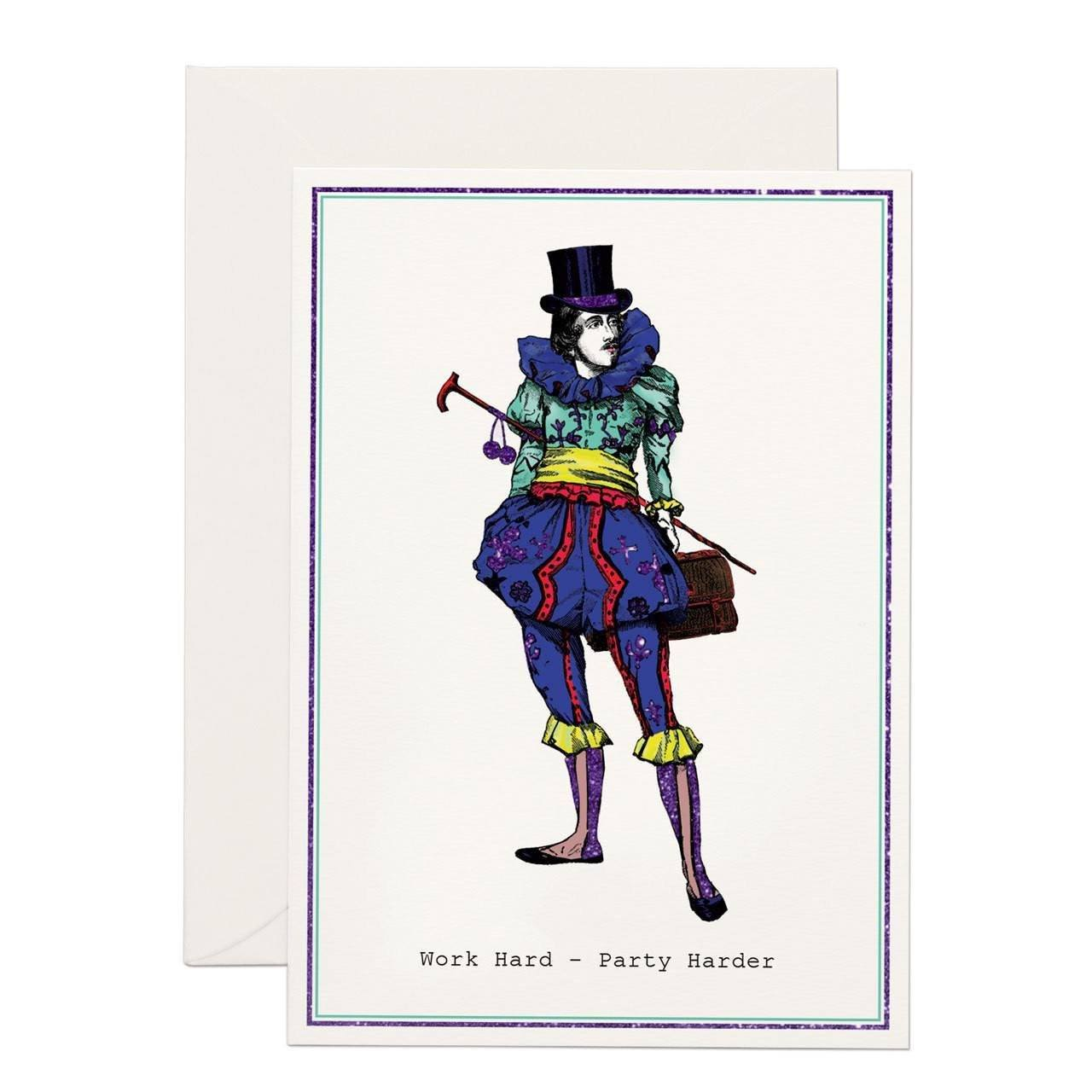 Work Hard - Party Harder greeting card - Chase and Wonder - Proudly Made in Britain
