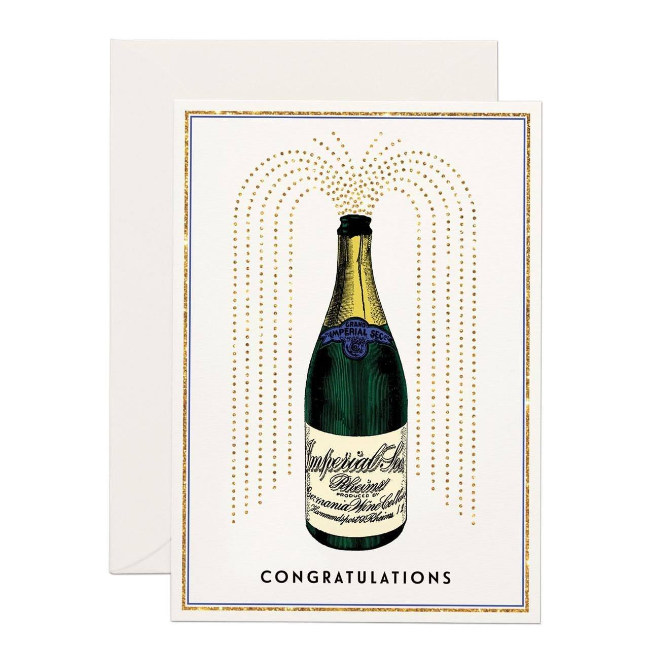 Champagne Congratulations (SMALL) greeting card - Chase and Wonder - Proudly Made in Britain