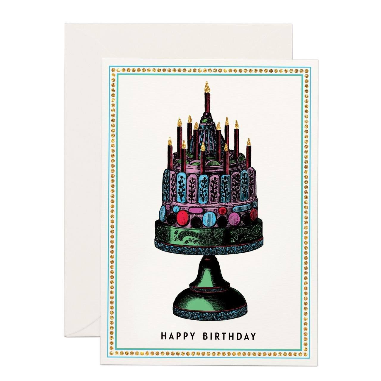 Happy Birthday Cake (SMALL) greeting card - Chase and Wonder - Proudly Made in Britain