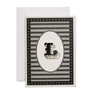 Letter 'L' enamelled badge & greeting card - Chase and Wonder - Proudly Made in Britain