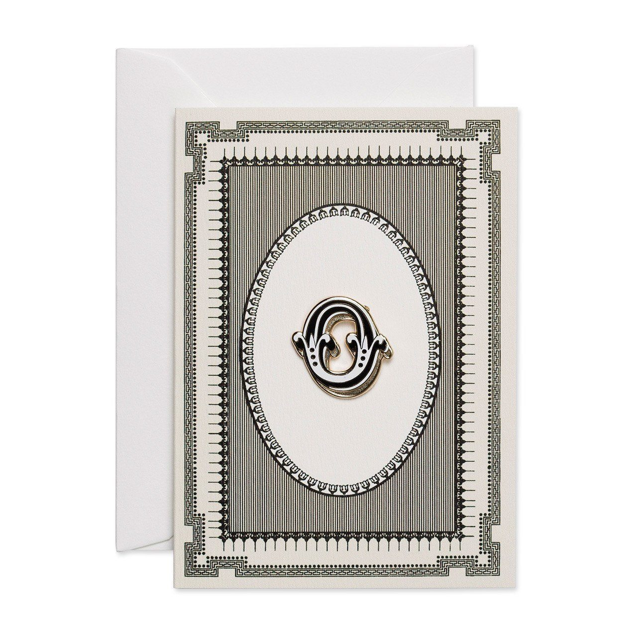 Letter 'O' enamelled badge & greeting card - Chase and Wonder - Proudly Made in Britain