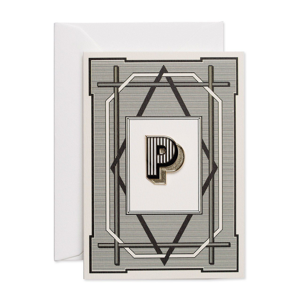 Letter 'P' enamelled badge & greeting card - Chase and Wonder - Proudly Made in Britain