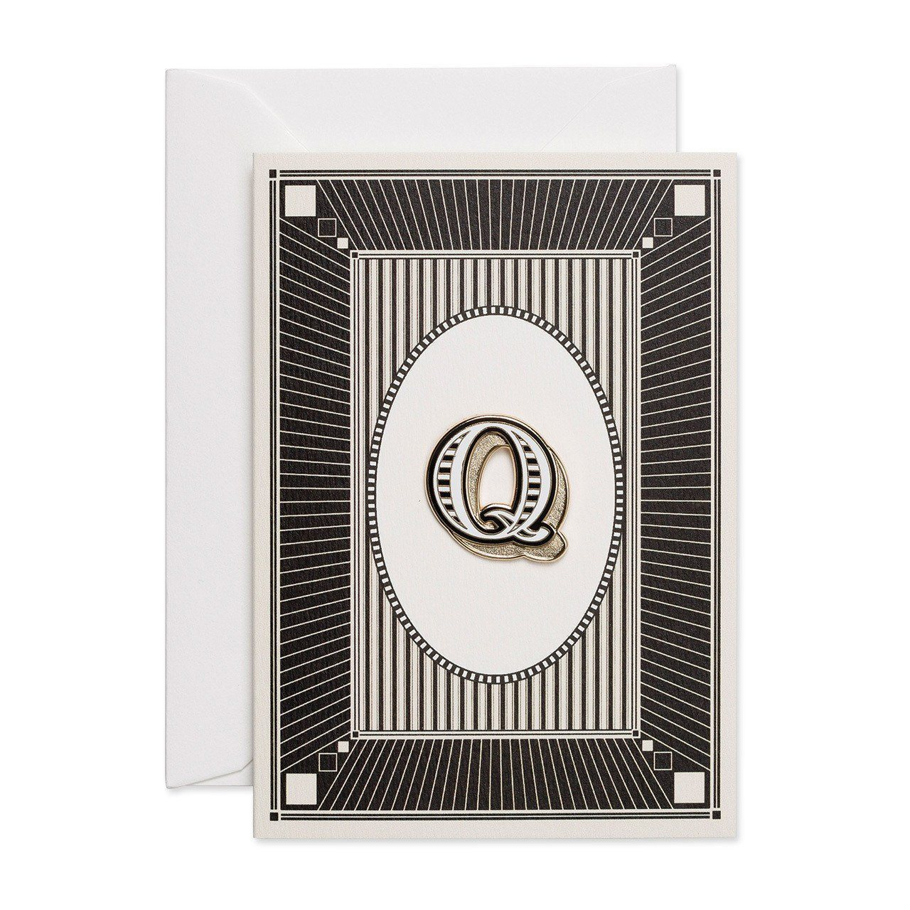 Letter 'Q' enamelled badge & greeting card - Chase and Wonder - Proudly Made in Britain
