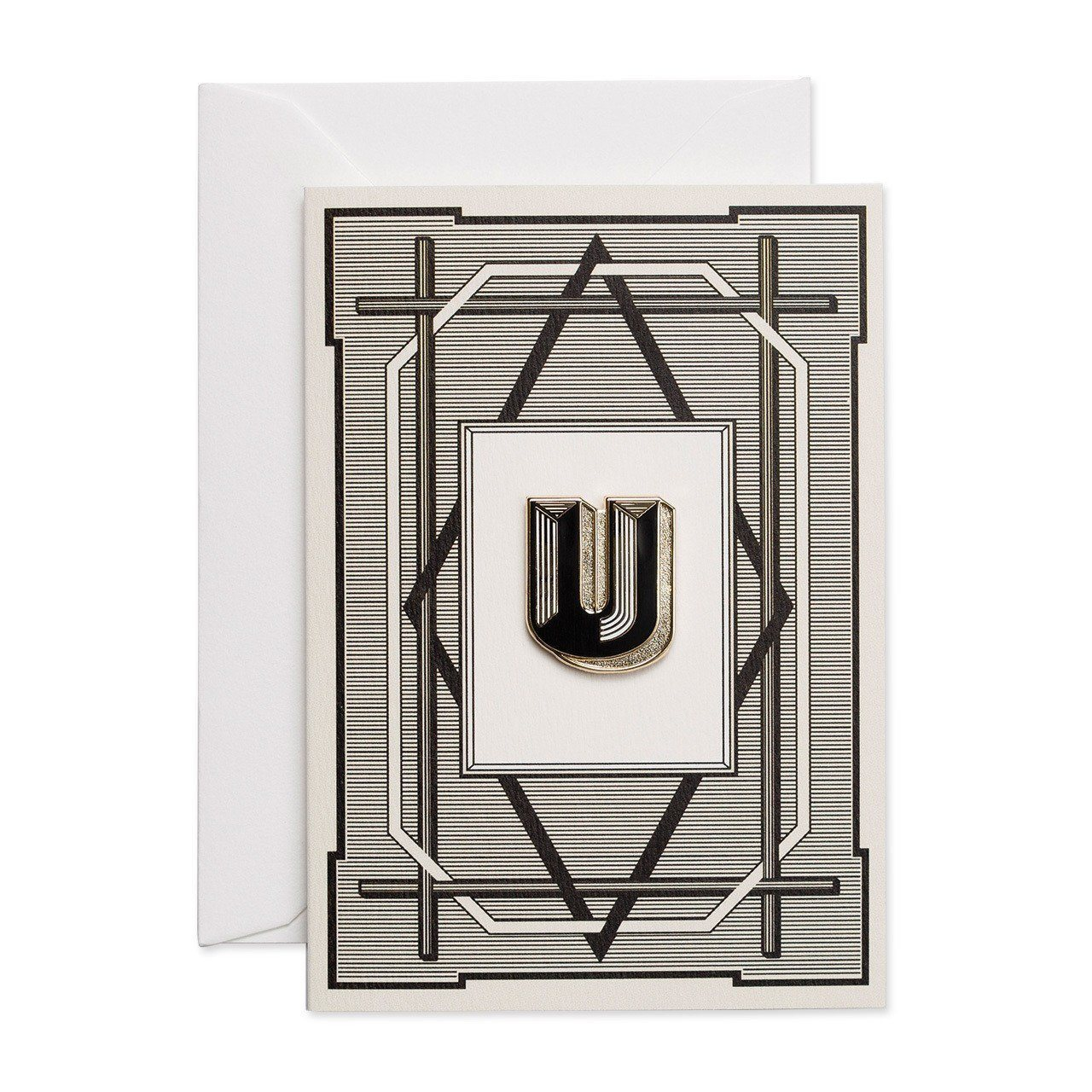 Letter 'U enamelled badge & greeting card - Chase and Wonder - Proudly Made in Britain