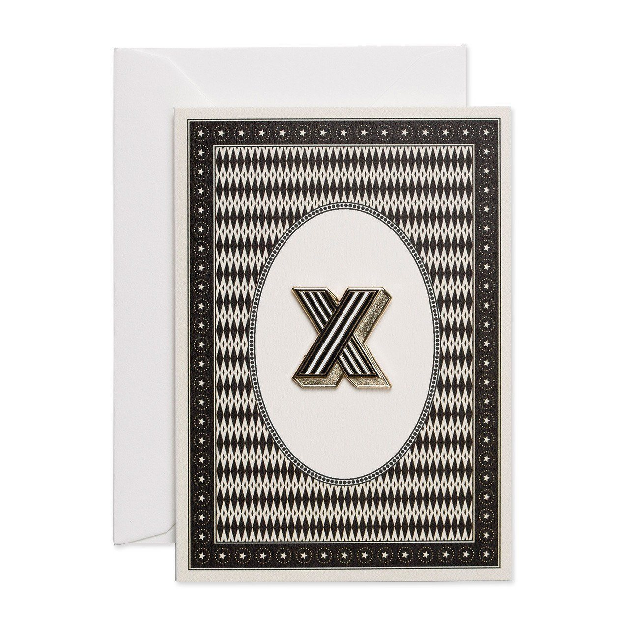 Letter 'X' enamelled badge & greeting card - Chase and Wonder - Proudly Made in Britain