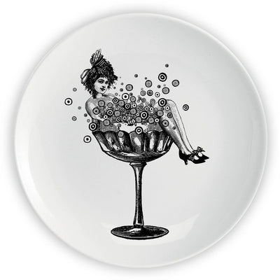 "The Champagne Lady x 10 CORSO COMO - 10"" Plate - Chase and Wonder - Proudly Made in Britain"