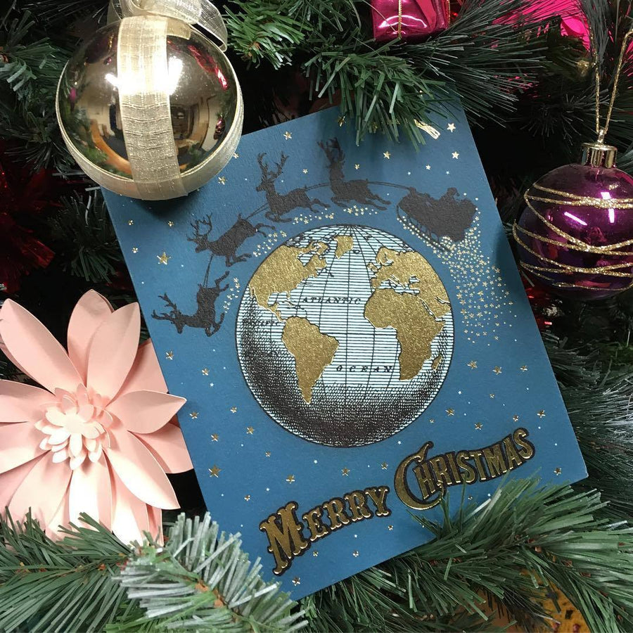 Christmas Globe greeting card - Chase and Wonder - Proudly Made in Britain