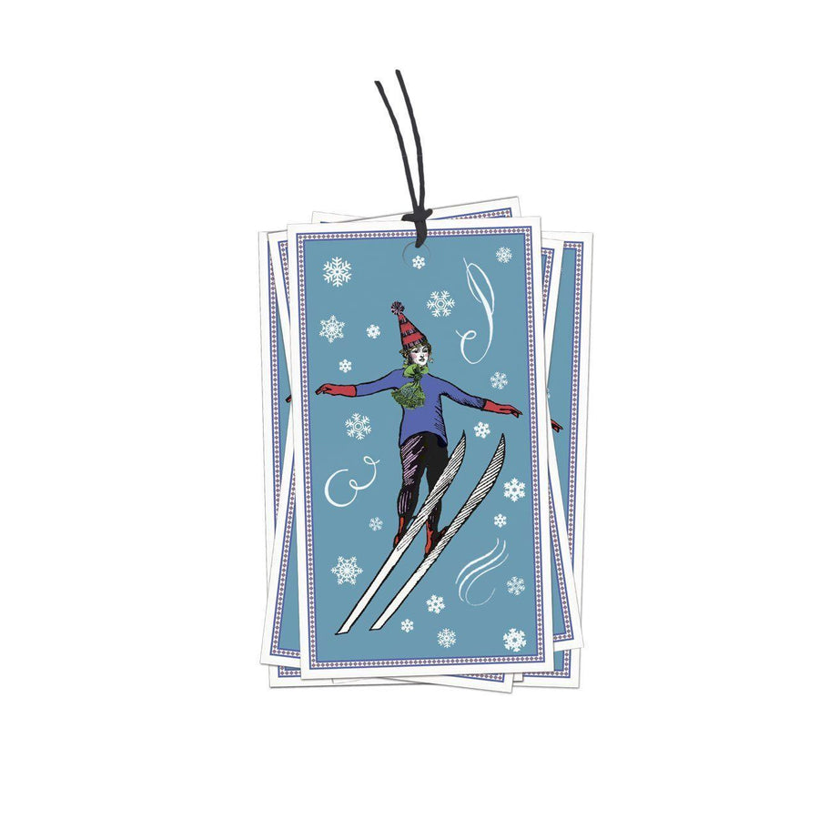 Pack of 10 Christmas Skiers Gift Tags - Chase and Wonder - Proudly Made in Britain