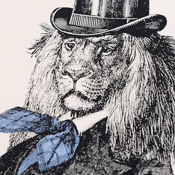 Dandy Lion (Blue) Screen Print - Chase and Wonder - Proudly Made in Britain