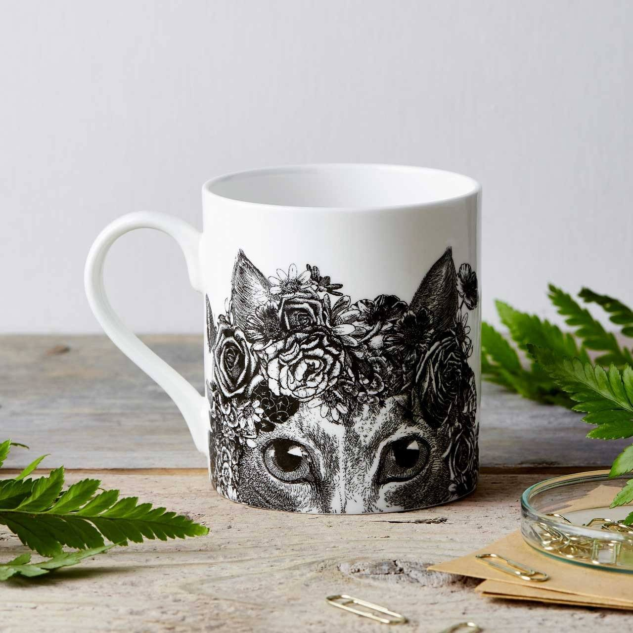 Flower Cat Fine China Mug