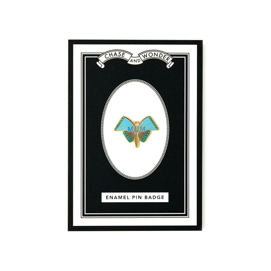 Butterfly Mum Enameled Pin Badge