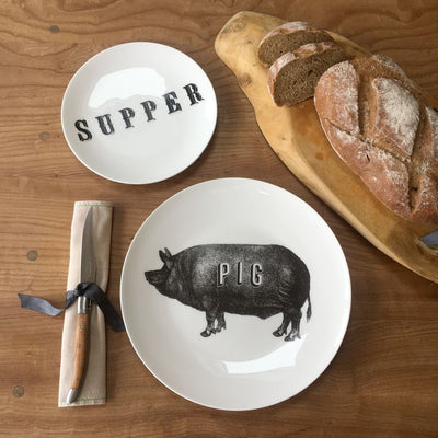 "Pig Fine China 10"" Plate - Chase and Wonder - Proudly Made in Britain"