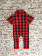 Unisex Red and Black Checked Romper