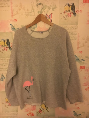 Adult Grey Flamingo Raw Edged Sweatshirt
