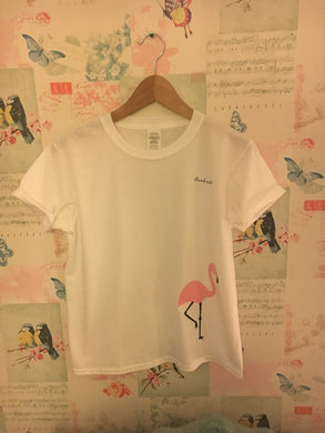 Children's Short White Rolled Sleeve Flamingo T-Shirt