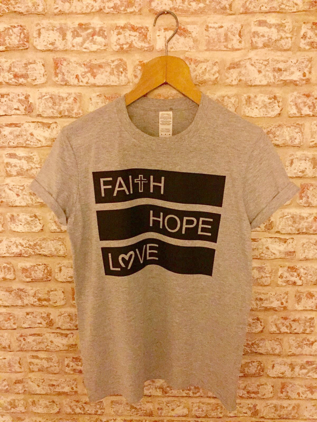 Adult and Children's Grey Faith Hope Love T-Shirt