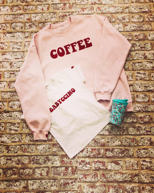 Coffee Sweater in pink and grey