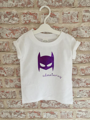 Glittery Purple Bat-Mask T-Shirt with short rolled sleeves