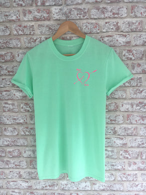 Mum Of... Mint Green T-Shirt with Small Pink Print