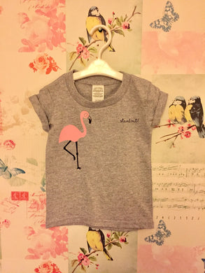 Children's short Grey Rolled Sleeve Flamingo T-Shirt