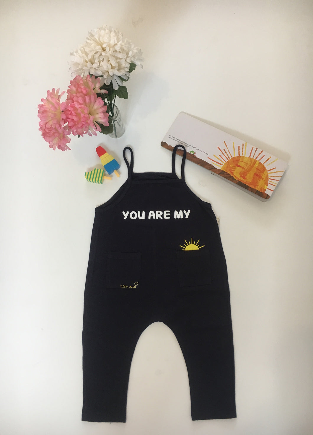 Navy You Are My Sunshine Dungarees