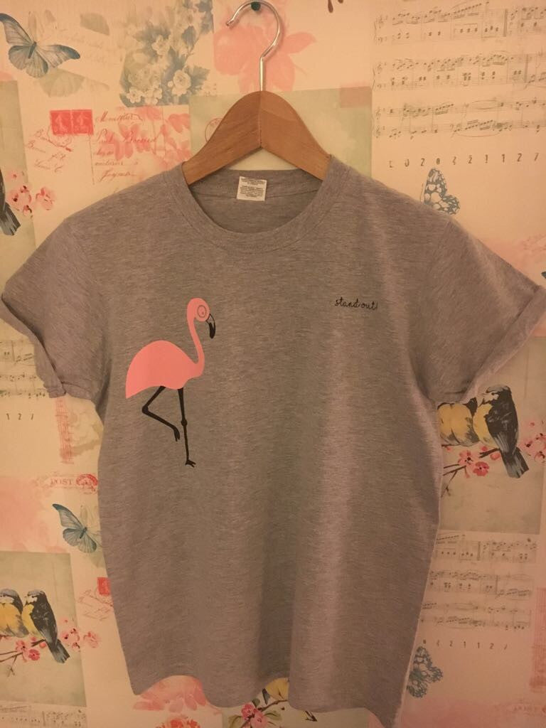 Adult Grey Rolled Sleeve Flamingo T-Shirt