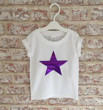 Glittery Purple Star T-Shirt with Short Rolled Sleeves