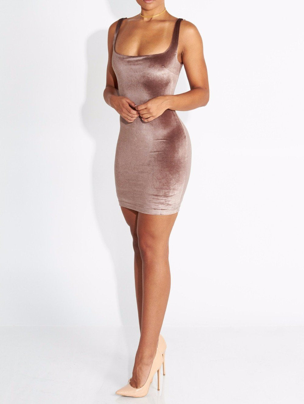 Velvet Bodycon Mini Dress-Urbanized Apparel Store