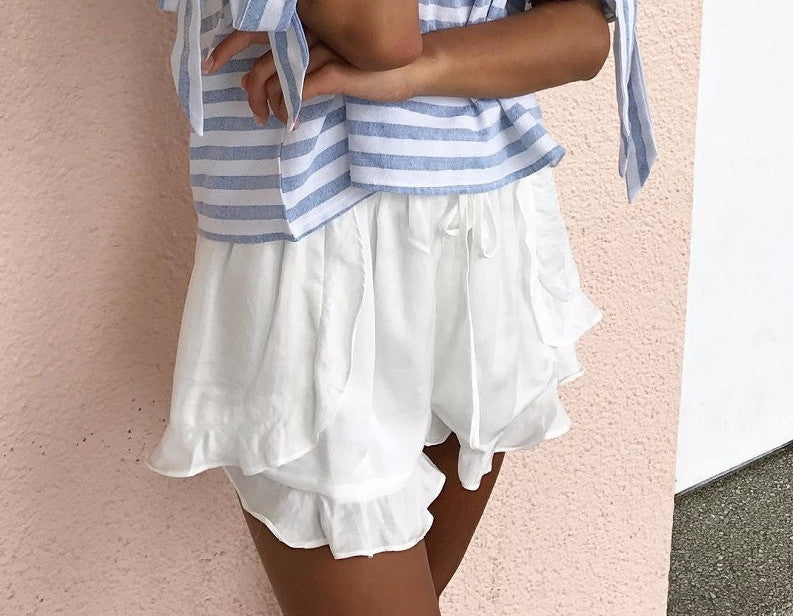 Ruffled high waisted shorts-Urbanized Apparel Store