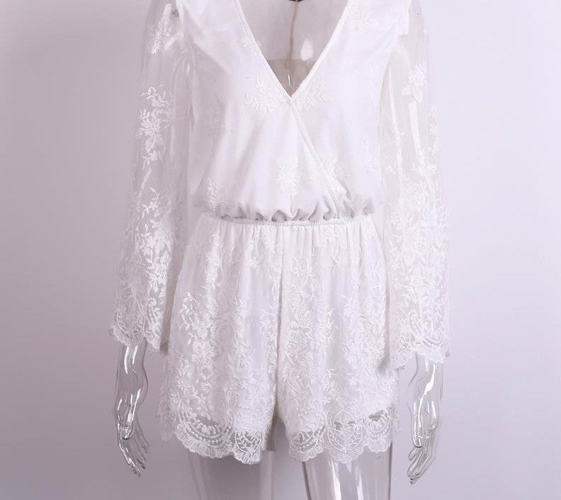 White Lace Jumpsuit-Urbanized Apparel Store