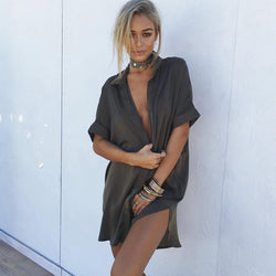 Casual Satin Shirt Dress-Urbanized Apparel Store