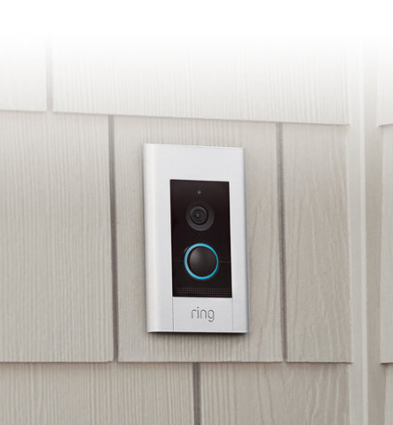Ring Video Doorbell Elite flushed on the wall