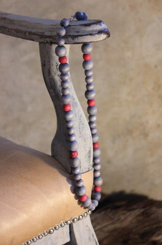 Necklace - Grey and red washed wooden beads
