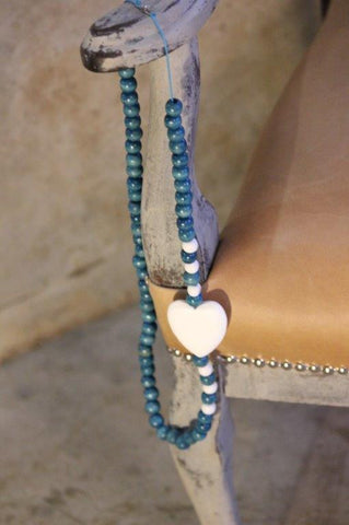 Necklace - Turquoise and white