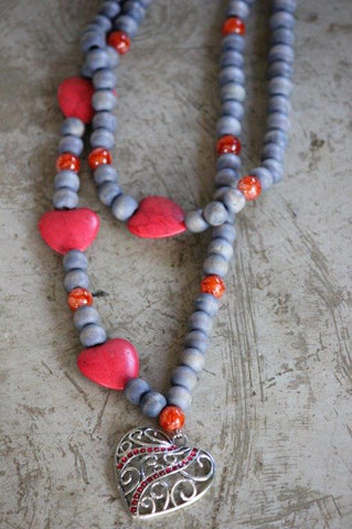 Necklace- Grey and Red