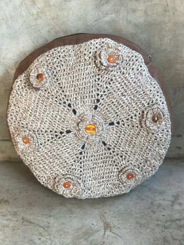 Crochet and leather pillow