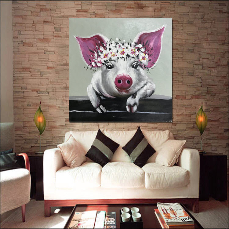 Piggy With Flower Crown Oil Painting
