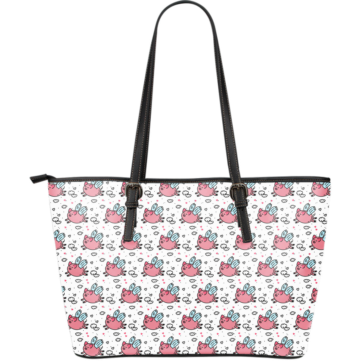 Flying Piggies Large Leather Tote Bag