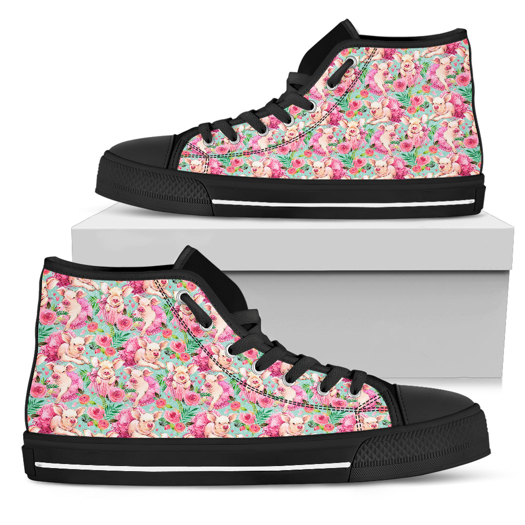 Flower Piggy Women's High Top Shoes