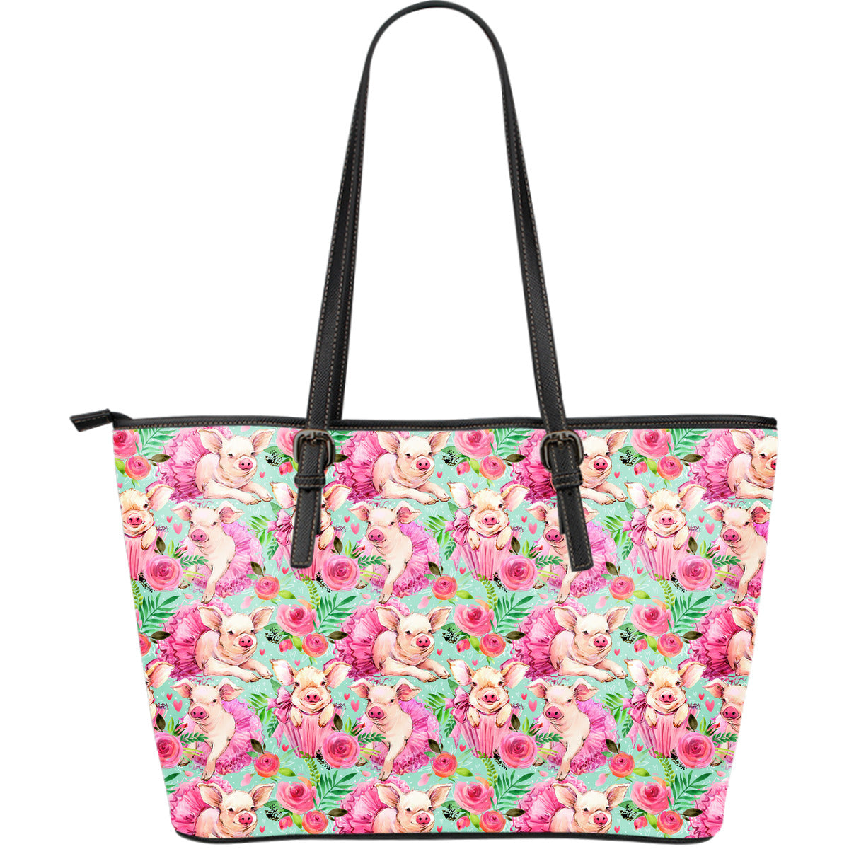 Flower Piggy Women's Leather Tote Bag