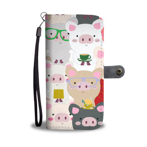 Piggies With Glasses Phone Wallet Case