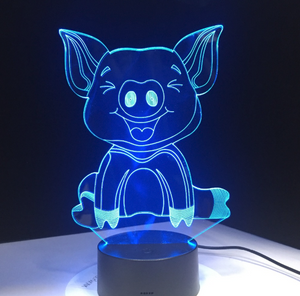 Cute Piggy 3D Lamp(7colors)